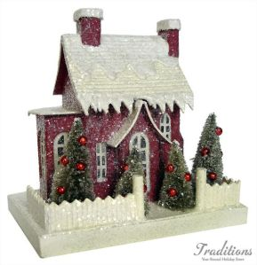 Okay, this house may not be very simple since it has 2 chimneys. Bit its trees are since they only have red ornaments.