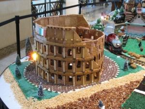 It's a gingerbread model of the Roman Colosseum where gladiators fought. Of course, there's nothing Christmas about it but it's architecture.