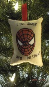 But not in a way that other people do it. His web design has more with doing catching bad guys in webs.