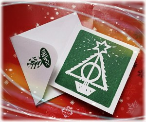 After all, this is a card that features a Deathly Hallows Christmas tree. If you've read all the books, you should know what it stands for.