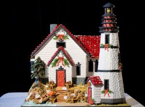 Yes, this is another gingerbread lighthouse. But at least the lighthouse is white which is an ideal color (since it has to be easily seen at night).
