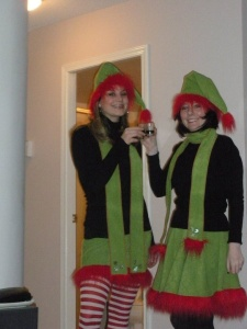 Well, they surely look ready for something like SantaCon. Then again, they just might be Santa elves on a break.