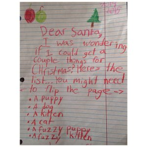 "Note: When a letter to Santa says, ""Flip page"" you can tell it's not just a couple of things. Yeah, kid has a long list."
