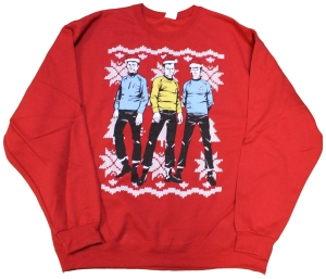Even better is how they're all wearing Santa hats to get in the Christmas spirit. But it's a must have for any Trekkie.