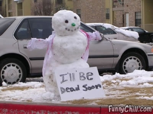 Because from the sign, this snowman isn't long for this world. But doesn't seem to care.