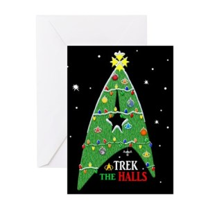 This one even has Starfleet insignia of Christmas tree decorated with ornaments. Love it.