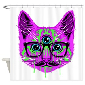 Yeah, I find a lot of cat curtains from Google Images. Yet, this one is purple with a mustache, glasses, and third eye.