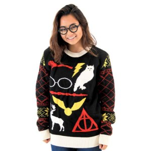 Yes, there are a lot of Harry Potter ugly Christmas sweaters out there. This one has the basic symbols covered.