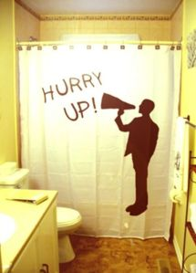 I'm sure plenty of people have been told to hurry up while doing their bathroom business. But this shadow uses a megaphone.