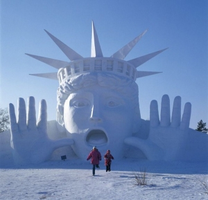 Well, she can be quite the tease. Still, this is a rather amusing snow sculpture if you ask me.