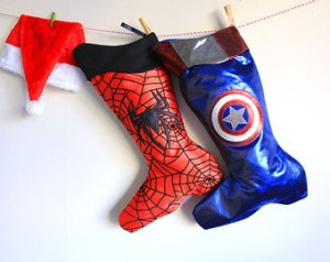 This features stocking boots of Captain America and Spider Man. Since they're 2 of the most popular Marvel superheroes around.