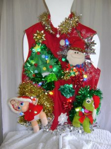 This even has Santa, tinsel, and a tree that lights up. Yes, these Christmas sweaters can be quite elaborate.