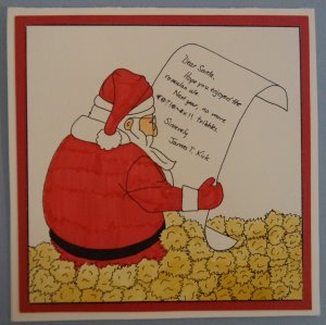 Unfortunately, Santa received a ton of tribbles and a request not to send the Enterpise any. And you can't argue with Jim on this one. But poor Santa.