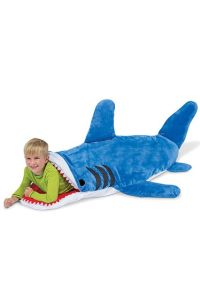 "From Refinery29: ""Tell the tot in your life that he's as precious as a bucket of chum."" Then again, the kid does seem happy with his shark sleeping bag. But it's pretty disturbing."