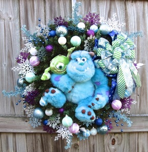 This is a nice Christmas wreath from Monster's Inc. Like how Mike and Sully are featured.
