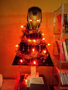 Come to think of it, a metal tree is quite appropriate for Iron Man. Like the lights and tinsel.