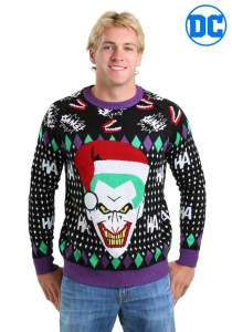 He sure looks menacing here. Before wearing it to a holiday party, make sure the attendees aren't afraid of clowns first.