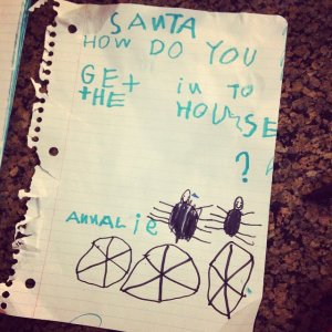 I'm guessing this kid's family doesn't have a chimney. I'm sure Santa has other ways.
