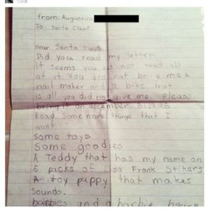Well, at least this girl is being reasonable about the letters. Yet, she still made a list.