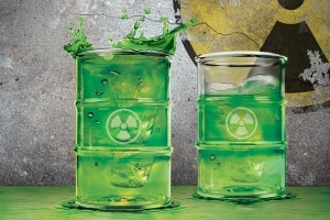 "From Neatorama: ""If you like drinks that are so strong that they're practically poison, this is the glass for you: Polluted Glass, shaped like a 'lil 55-gallon drum used by Evil Big Corp to dump their toxic waste."""