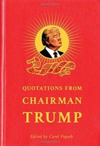 "From Film Jacket: ""You can gift it to any Republican fan, and he will love it until he starts reading it. After that, I can't guarantee anything. This is the newest rendition of ""The Little Red Book"" by Chairman Mao and is being termed as ""The Little Bad Book"" by D.J Trump."""