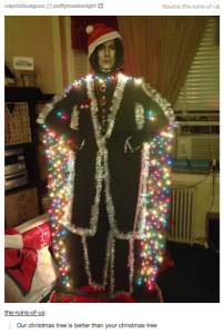 Yes, there are a lot of huge Snape fans out there. But this one really takes the cake. Yeah, not sure if Snape really shows the Christmas spirit.