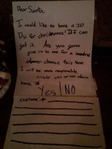 "This kid put ""yes/no"" and lines for Santa to write on. Not sure if Santa wants to answer that."
