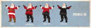 Here's Santa wearing outfits that correspond with a Star Trek series. The last one is Santa DS9.