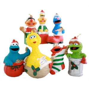 Includes Ernie, Bert, Grover, Cookie Monster, Big Bird, Elmo, and Oscar. Each of these has quite a clever spin.