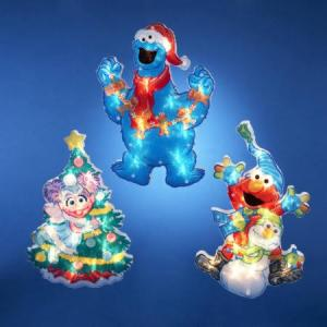 These consist of Elmo, Cookie Monster, and a Christmas tree. Sure to lift spirits of those who see them.