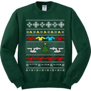 This includes the Enterprise, Starfleet insignia, a Christmas tree, snowflakes, and a row of red shirts. A great sweater for Trekkies everywhere.