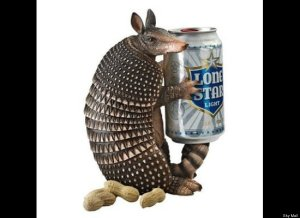 "From Huffington Post: ""It's a struggle to come up with a practical use for this. Unless you have some really kleptomaniacal dinner guests, we're not sure why you need an armadillo to protect your beer."""