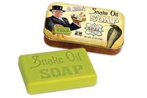 "From Neatoshop: ""Let the oil of the cobra cleanse you! The Snake Oil Soap contains real cobra oil and can help clean your skin like a magical elixir which secret is passed down from generations to generations of handwashers. Would we lie to you? ;)"" Sorry, but this is probably just either regular soap or soap that has no benefits."