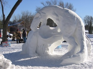 Well, in snow sculpture form anyway. Chances are, T-Rex messed with the wrong triceratops.