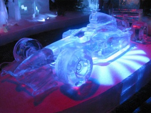 This is an ice sculpture of a Formula 1 race car. It's a kind of auto racing that's popular in Europe, by the way.