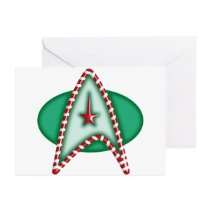This one has a green Starfleet insignia with a candy cane border. Hope it's minty fresh.