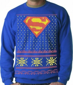 If Superman attended an ugly sweater Justice League party, he could probably wear this. Then again, maybe not.
