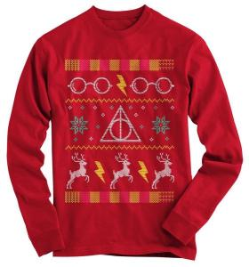 You can understand there aren't a lot of limits to how many Harry Potter ugly sweaters there are. But this one is in a rich red with the Deathly Hallows mark.