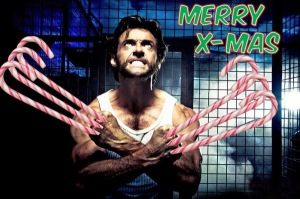 Yes, this is photoshopped from a movie scene. But I like how he has candy canes instead of claws.