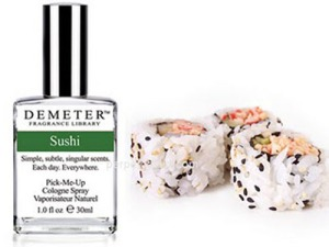 Because there's nothing that smells so sweet like raw fish. Okay, not all sushi has raw fish or even fish, but you know what I mean. Available for women.