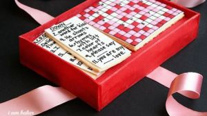 Yes, it's a cookie crossword puzzle for Valentine's Day. Some have the squares. Others have clues.