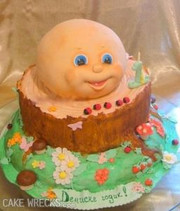 But a Cabbage Patch kid's head on a stump? Oh, God no!
