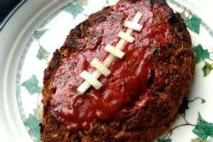 After all, you can't make a football from steak. Has some ketchup and cheese.