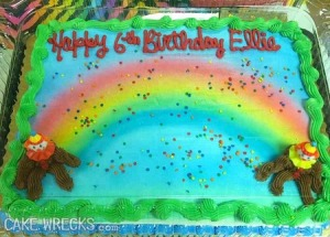 Excuse me, but those blots of clown icing look like turds to me. It's like no matter where you go in the rainbow, you'll always find shit at both ends. Kind of a depressing message to say the least.