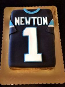 Yes, this is a Cam Newton jersey cake. Still, at least his team lost to the Broncos.