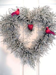 This one consists of a snowy branch heart with two red cardinals. and a heart in the center. A perfect Valentine's Day decoration for male same-sex couples. Well, assuming the birds are cardinals.
