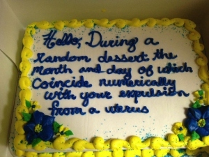 Well, at least whoever decorated it is honest. Still, this would be a perfect cake for Sheldon Cooper.