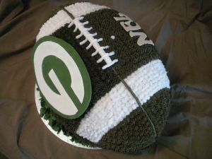 It's even a cheesecake, too. Still, you have to admire the ingenuity of Packers fans.