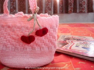 It's pink with tiny red hearts on it. Now that I think of it, it's a great gift unto itself.
