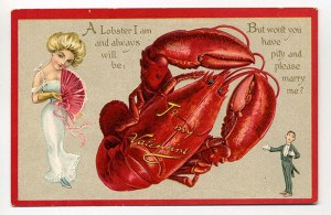 It's also a marriage proposal card, too, which is even more disturbing. I mean unless it's on a plate, do lobsters ever scream romance? No.